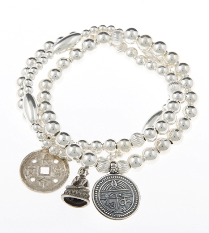 Peace Luck & Health Sterling Silver Bracelet Stack