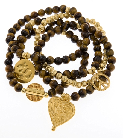 For Courage Tigereye Gold Vermeil Gypsy Mix stack of Five Bracelets