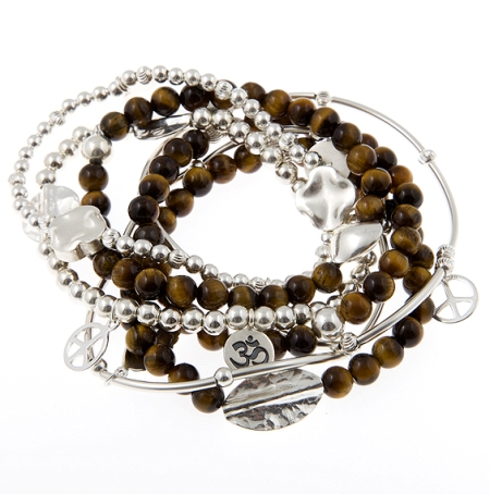 For Courage Tigereye and Sterling Silver Skinny Gypsy Mix Bracelet Set