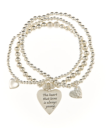 Triple Love Sterling Silver Heart Charm Skinny Bracelet Set