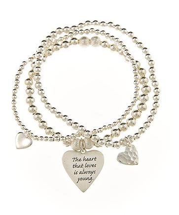 Triple Love Sterling Silver Heart Charm Skinny Bracelet Set