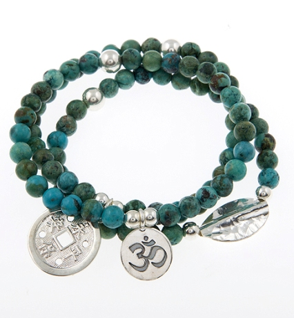 Guide and Protect Turquoise Gypsy Mix Sterling Silver set of 3 Bracelets