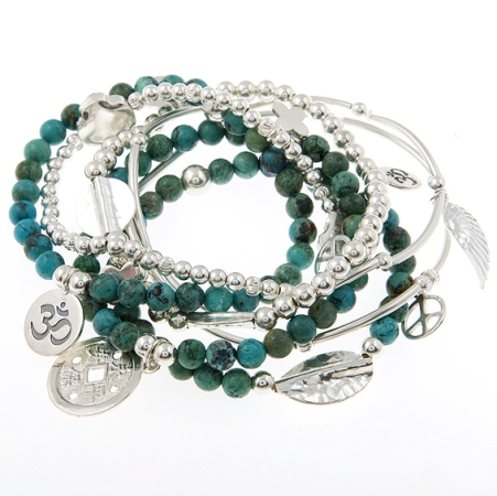 Guide and Protect Turquoise and Sterling Silver Skinny Gypsy Mix Bracelet Set